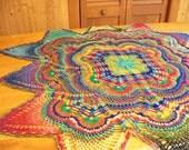Hand Crocheted Rainbow Tablecloth or Doily