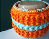 Bright Orange and Blue Cobble Stitch Collar Cowl