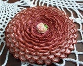 Antique Rose Crocheted Brooch