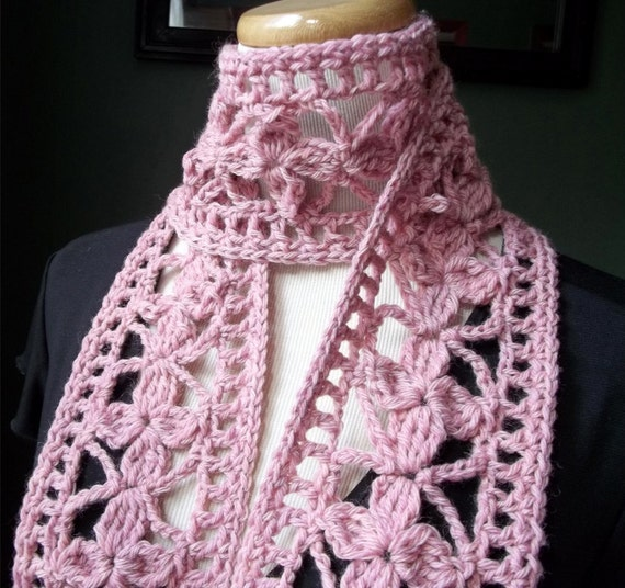 Women's Wool Scarf  Crocheted Lace in Pink Heather