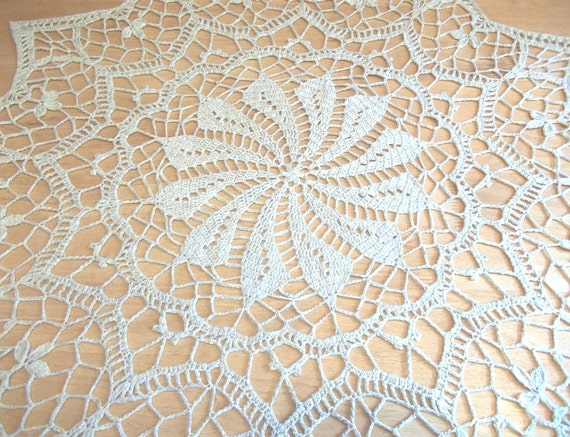 Crochet Doily Centerpiece - Lace Doily - Tablecloth - in Cotton Blend - 34 inch Round