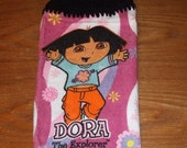 Dora The Explorer Hand Towel With Black Crocheted Top