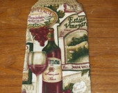Grapes And Wine Hand Towel With Light Tan Buff Brown Colored Crocheted Top