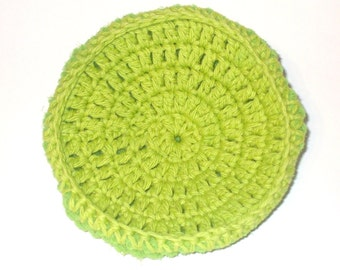 Hot Green Crocheted Cotton And Nylon Netting Dish Scrubbie- Large