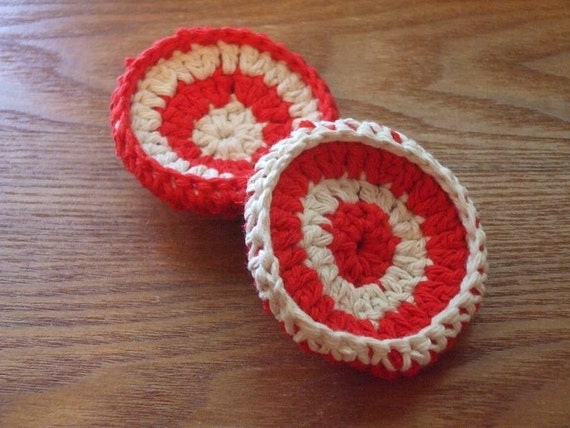 Set Of Two Red And Ecru Cream Colored Crocheted Cotton And Nylon Netting Dish Scrubbies
