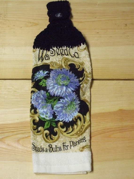Walker Seed Blue And Purple Floral Hand Towel With Black Crocheted Top