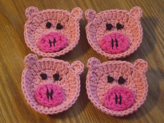 Lot Of Four Miniature Piggie Crocheted Face Scrubbies