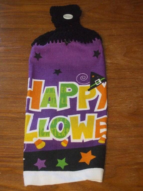 Happy Halloween Hand Towel With Black Crocheted Top-