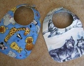 WOLF PRINT and Whimsical Animals, Set of Two Baby Bibs
