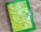 Mossy Lime Green Swirls Leather Journal Book - Medium Size