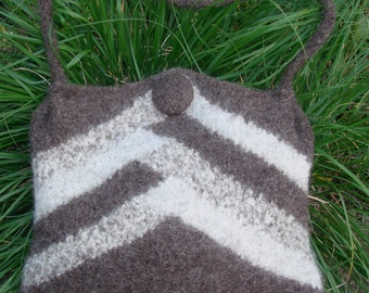 Felted Shortrowed Purse In Earth Tones
