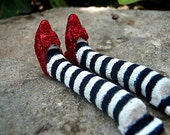 Wicked Witch of the East  - 1 inch scale witchy leggies - Ruby slippers - MADE TO ORDER