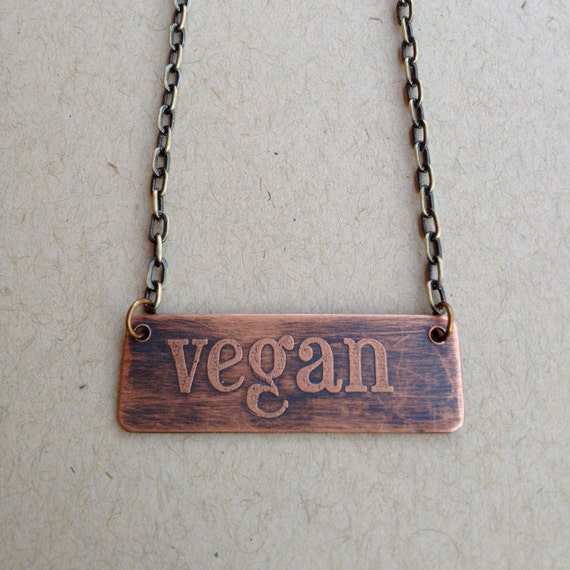 Copper Etched Necklace-Vegan