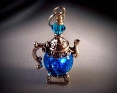 Aqua Blue Fried Marble Teapot Necklace