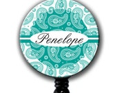 Retractable ID Badge Holder - Personalized Name Paisley - Your choice of color
