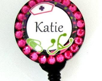 Custom Name Retractable Badge Holder, Nurse Theme with Swarovski Rhinestones