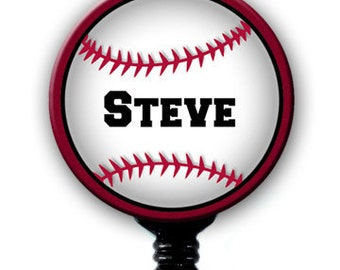 Retractable ID Badge Holder - Personalized Name Baseball