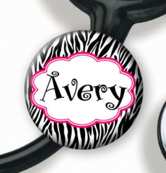 Stethoscope ID Tag - Personalized Name -Black and White Zebra with Pink