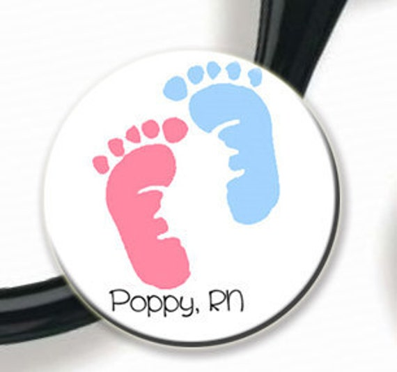 Stethoscope ID Tag - Personalized Name - Pink and Blue Baby Feet