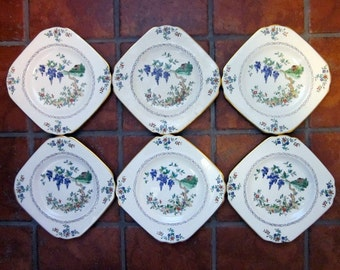 Six Vintage Tuscan China Plates from England - CLEARANCE