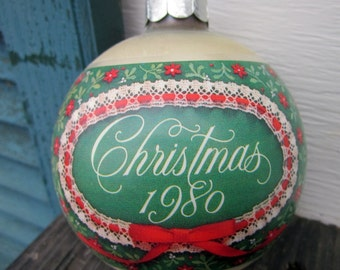 Vintage Glass Christmas Ornament - Hallmark 1980 - CLEARANCE