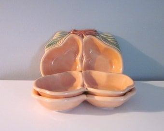Three Vintage Ceramic Candy Dishes - Belmar Pottery 1950s - Double Pears
