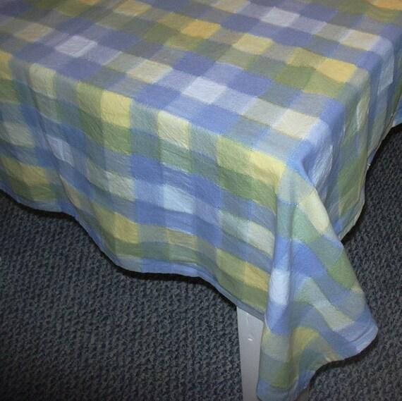 Vintage Tablecloth Blue Yellow Plaid