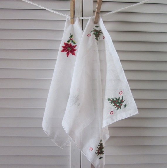 Vintage Christmas Hankerchiefs - Two Embroidered