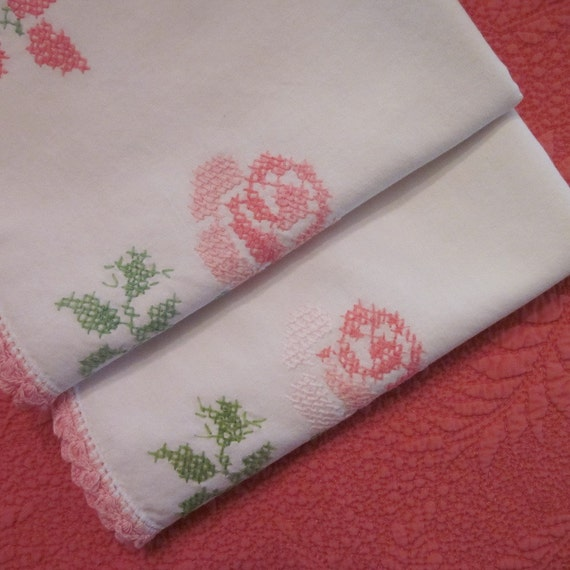 Vintage Pillowcases - Hand Embroidered Pink Roses