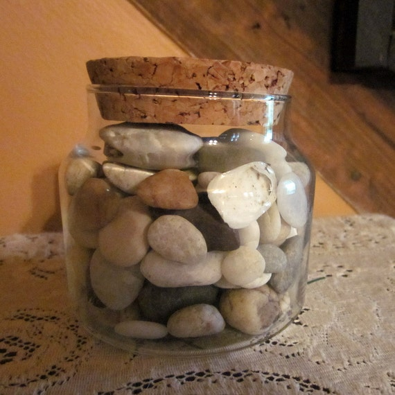 Vintage Glass Jar With Sea Washed Stones/ Shells - Beach Decor