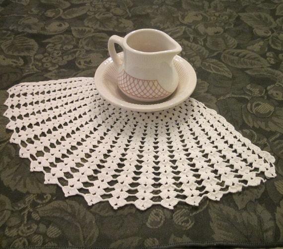 Vintage Crocheted Doily - Handmade White Fan