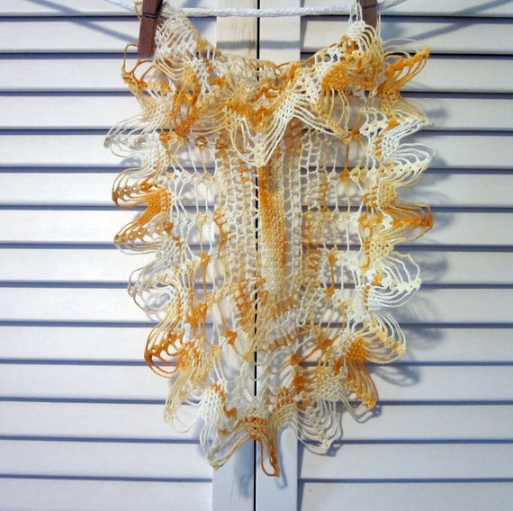 Vintage Doily - Hand Crocheted Gold and White