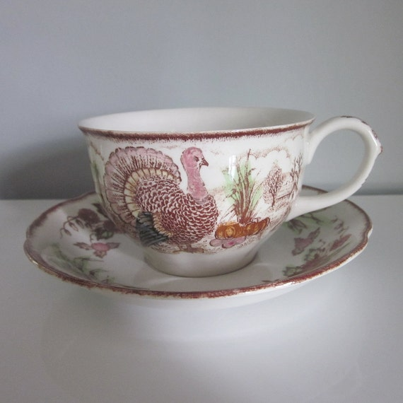 Reserved for Linda - Vintage Transferware Cups and Saucers - Harvest