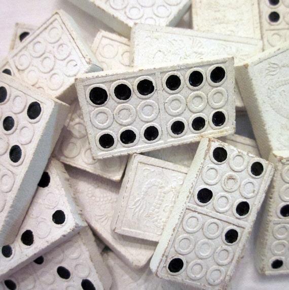 Vintage Dominoes in a Wooden Box - Twenty Black on White