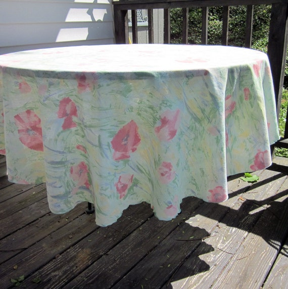 Vintage Round Tablecloth Pastel Summer Floral