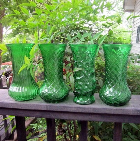 Four Large Green Glass Vases - Vintage Wedding
