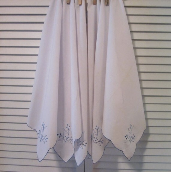 Vintage Embroidered Napkins - Six Blue and White