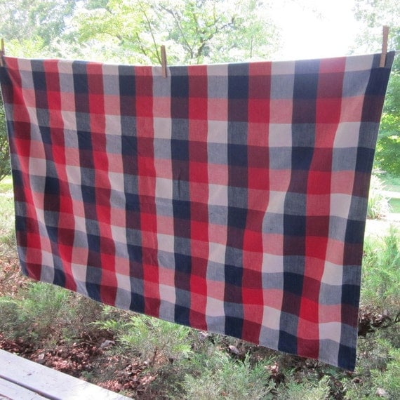Vintage Woven Cotton Tablecloth - Navy White and Red Plaid