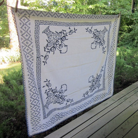 Vintage Linen Tablecloth - Blue and White Cross Stitched