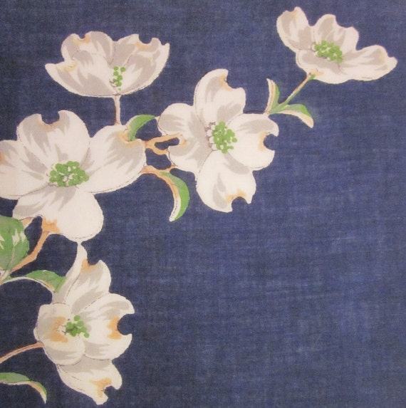 Vintage Hanky/ Handkerchief - Navy With Dogwood Branch