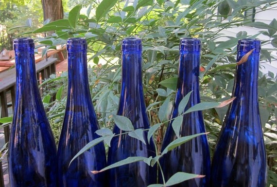 Five Vintage Wine Bottles - Cobalt Blue Glass
