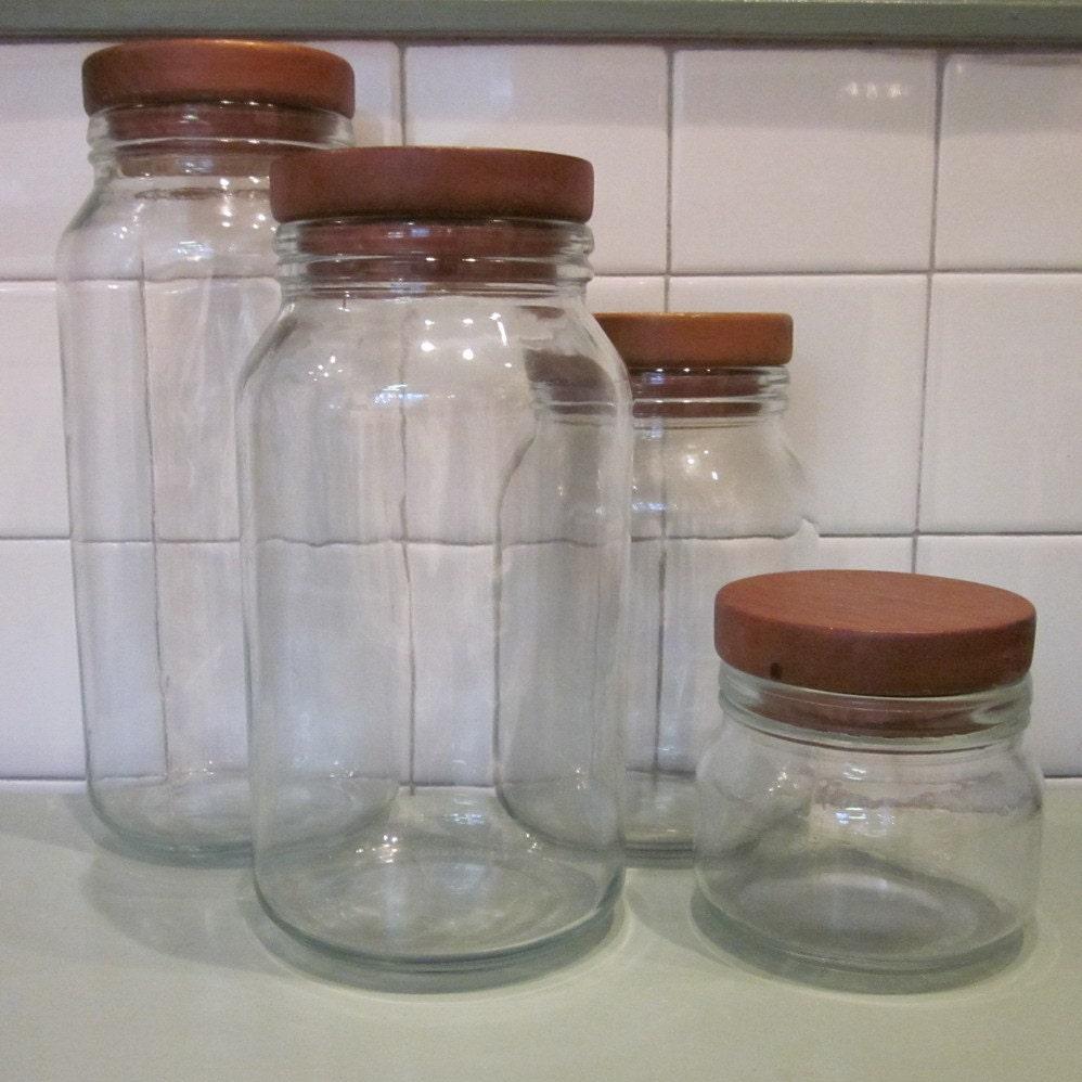 vintage glass canister set wooden lids by simplysuzula on etsy. Black Bedroom Furniture Sets. Home Design Ideas