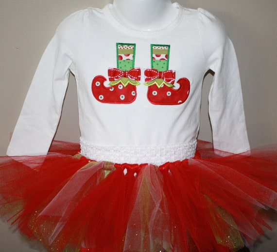 SAMPLE SALE Size 2T girls long sleeved shirt with elf boot applique