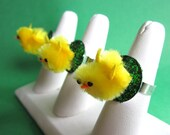 Spring Chicken adjustable yellow chicky chick silver ring with green glitter grass perfect for Easter basket stuffers