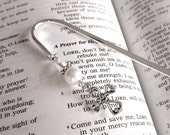 Religious Cross silver and swarovski crystal pearl shepherds hook bookmark