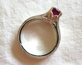 6MM round cut 1.5 ct Madagascar ruby sterling silver ring size 5.5