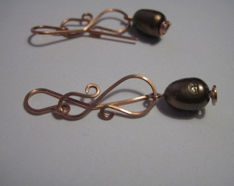 copper wire and bronze freshwater pearl dangle earrings