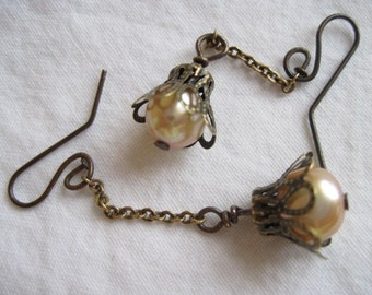 large cream baroque pearl antiqued copper dangle earrings