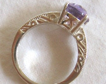10mm x 8mm oval checkerboard cut 2.30 ct amethyst sterling silver ring size 7
