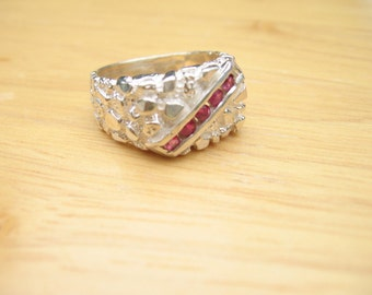 STERLING NUGET AND 5 STONE RUBY MENS RING SIZE 9.5